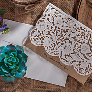 Personalized Top Fold Wedding Invitations Invitation Cards-50 Piece/Set Artistic Style / Floral Style Art Paper Flowers
