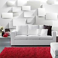 Modern 3D Shinny Leather Effect Large Mural Wallpaper White Cubes Art Wall Decor for Living Room