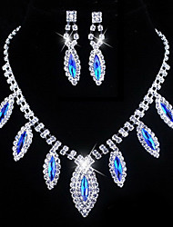 Wedding Blue Elegant Rhinetone Crytal Earring & Necklace Jewelry et