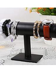 Classic Beautiful T Shape Bracelet Stand Black Wood Leather Jewelry Displays(1 Pc)