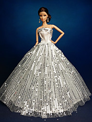 Wedding Dresses For Barbie Doll Silver Dresses For Girl's Doll Toy