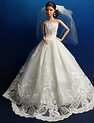 Party/Evening Dresses For Barbie Doll White Dresses For Girl's Doll Toy