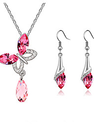 European Style Fashion Elegant Shiny Crystal Butterfly Necklace/Earrings Set