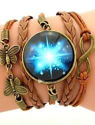 Women's Men's Charm Bracelet Leather Bracelet Wrap Bracelet Friendship Multi Layer Plaited Galaxy Fashion Inspirational Personalized