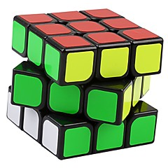 Yongjun® Smooth Speed Cube 3*3*3 Speed Magic Cube Black Smooth Sticker Guanlong Anti-pop / Adjustable spring ABS