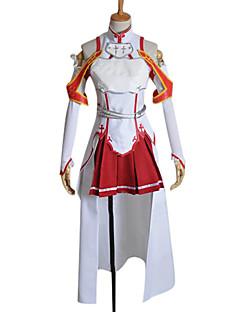 קיבל השראה מ Sword Art Online Asuna Yuuki אנימה תחפושות קוספליי חליפות קוספליי טלאים לבן / אדום בלי שרווליםעליון / חצאית / שרוולים /