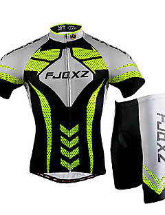 FJQXZ Cycling Jersey with Shorts Men's Short Sleeve Bike Breathable Quick Dry Windproof Ultraviolet Resistant Front Zipper Wearable 3D Pad