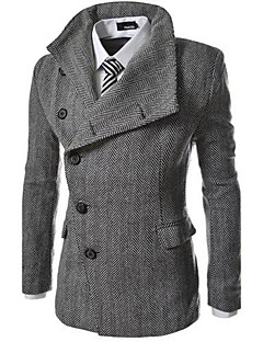 Men's Solid Casual Coat,Cotton / Polyester Long Sleeve-Gray
