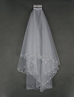 Bride Wedding Dress Veil Two-tier Fingertip Veils Beaded Hand-beaded Edge