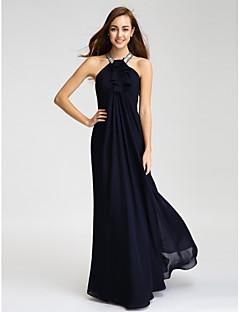 Lanting Bride Floor-length Chiffon Bridesmaid Dress Sheath / Column Halter with Beading / Crystal Detailing / Ruffles