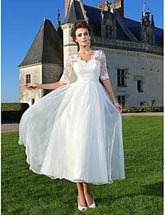 31a6145a7f LAN TING BRIDE Krój A Księżniczka Suknia ślubna - Szykowne i nowoczesne  Sukienki weselne Krótkie białe