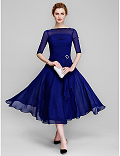 LAN TING BRIDE A-line Mother of the Bride Dress - Elegant Tea-length Half Sleeve Chiffon with Ruching