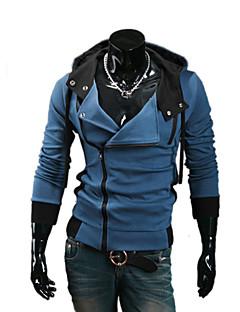 Men's Long Sleeve Hoodie & Sweatshirt,Cotton / Polyester Solid