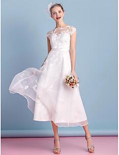 93cce410e2 LAN TING BRIDE Krój A Suknia ślubna Prześwitujące Lekko nad kolana Bateau  Organza z Haft nakładany