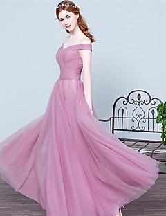 0a41c3827bb Επίσημο Βραδινό Φόρεμα Βραδινή τουαλέτα Έξω Ώμοι Μακρύ Τούλι με Πλαϊνό  ντραπέ