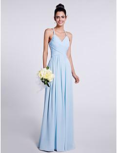 7af0e2d85006 Lanting Νύφη Μακρύ Σιφόν Φόρεμα Παρανύμφων Ίσια Γραμμή Λεπτές Τιράντες με  Χιαστί