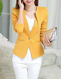 Women's All Seasons Blazer,Solid Long Sleeve Pink / White / Black / Yellow Polyester Medium