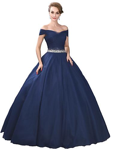 4cdf60f50484 Επίσημο Βραδινό Φόρεμα Βραδινή τουαλέτα Έξω Ώμοι Μακρύ Σατέν   Τούλι ...